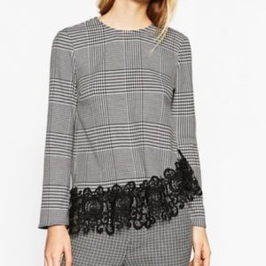 Zara Houndstooth and Lace Trim Blouse Size XS